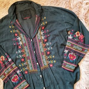 Johnny Was Embroidered Button Front Shirt